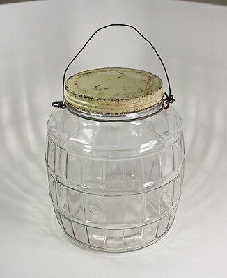 "Vintage Glass Pickle Jar Barrel Shape General Store Storage Wire Handle 8.75""H"