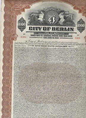 City of Berlin, 1928, 1000$ Gold-Bond, brown
