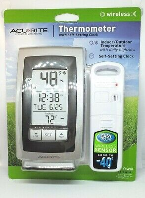 Acu-Rite Wireless Indoor Outdoor Thermometer with Self-Setting Clock