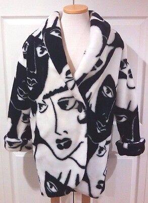 Vintage Donnybrook Women's Faux Fur Oversize White And Black Faces Coat Size S
