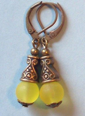 lemon YELLOW SEA FROSTED GLASS drop earring BRONZE HANDCRAFTED