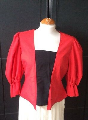 VINTAGE 80s STEAM PUNK RED & BLACK FRILLY TOP