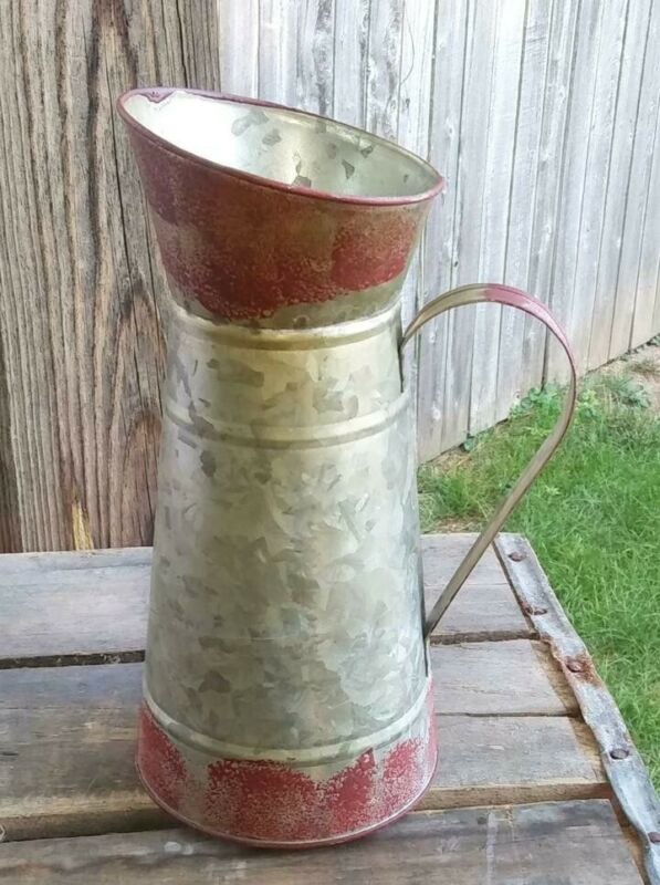 NEW Farmhouse Galvanized Pitcher Red Paint