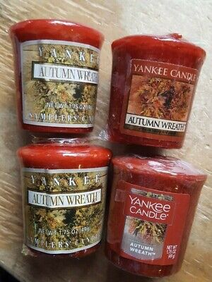 FALL SPECIAL! YANKEE CANDLE SET 4 VOTIVE CANDLES: AUTUMN WREATH