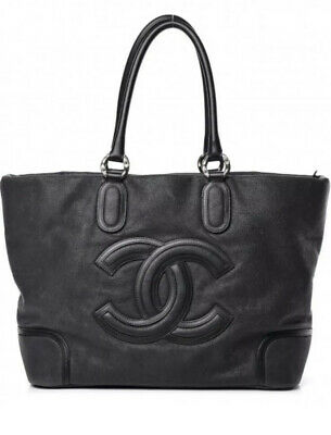 EUC Auth Chanel CLASSIC Washed Calfskin Dark Gray Black Tote Bag Purse (Chanel Grey)