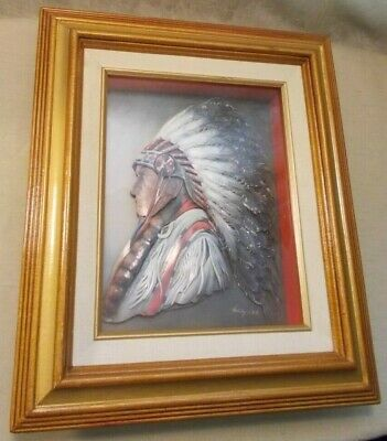 VTG 3-D LAYERED PAPER ART IN SHADOW BOX CHIEF SIGNED DATED (287)