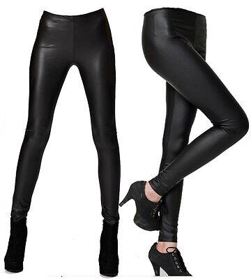 WOMENS BLACK MAT SHINY MATT WET LOOK ANKLE LENGTH LEGGINGS JEGGINGS UK 8 TO 20
