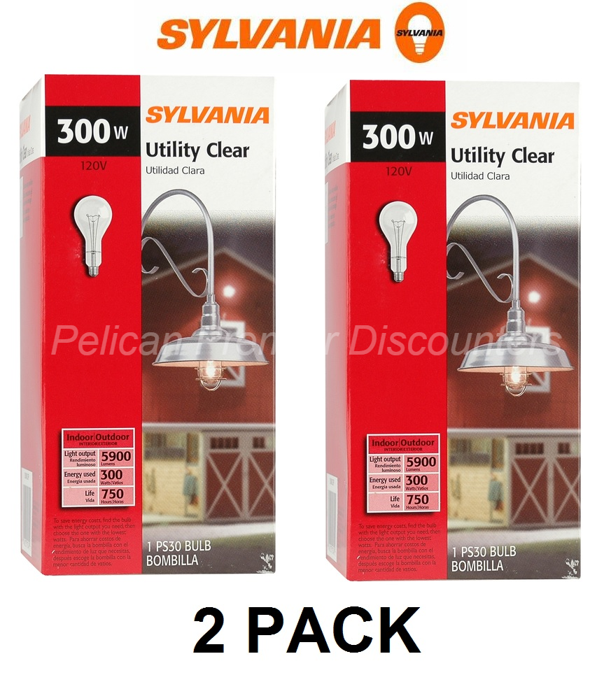 2 PACK SYLVANIA 300 Watt Dimmable Soft White PS30 Incandesce