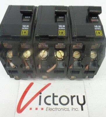 Used Square D 10000 Aic Breakers Lot Of 3 - 120240vac - Mj-5023 - Qo 2 Pole
