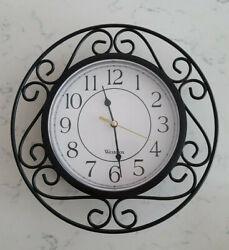 90's Vintage Westclox Wall Clock Black 11 in. Metal Modern Scroll Tested Works