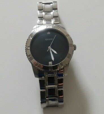 Authentic Guess Men Diamond Black Dial Silver tone Stainless Watch U0416G1
