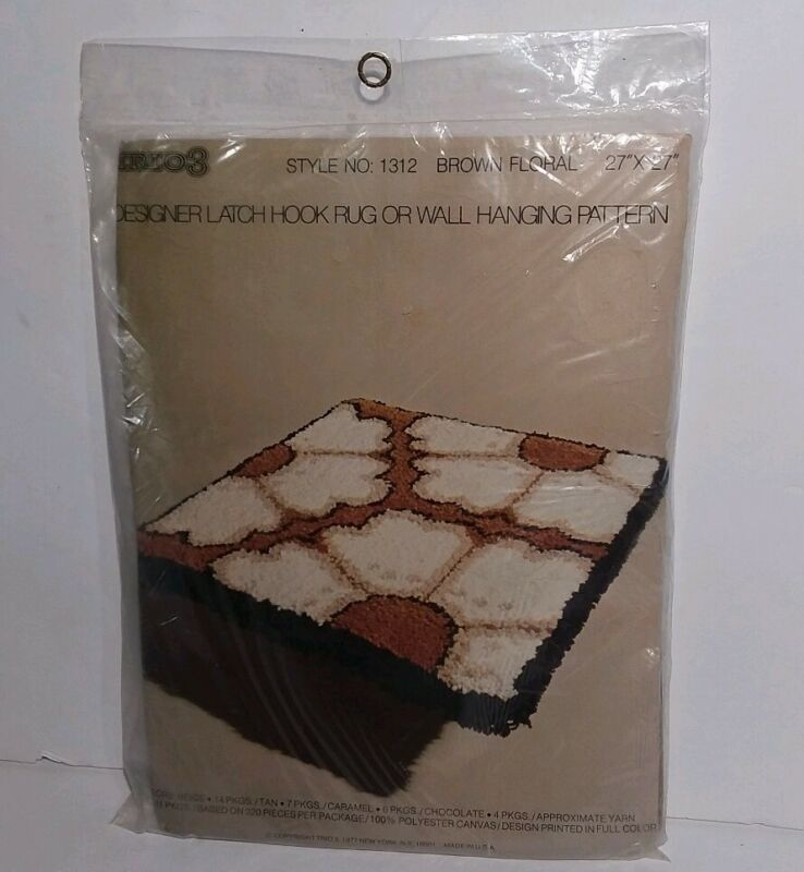 Trio3 Latch Hook Rug Wall Hanging Pattern 1312 Brown Floral Unopened