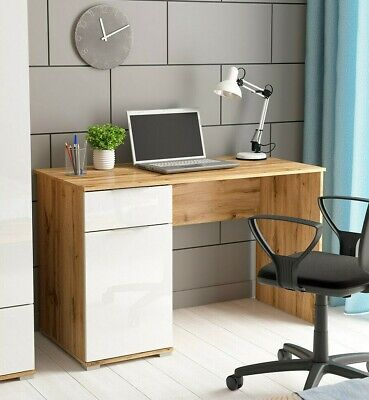 Modern Study Office Desk Storage Cupboard Drawer White Gloss Oak finish 120 Zele