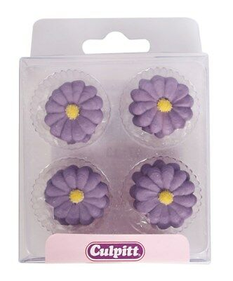 Purple Cake Decorations (Culpitt 12pce PURPLE DAISY Edible Cupcake Cake Sugar Pipings Decorations)