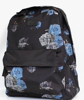 473a4680e6 Vans Off The Wall Deana II Rosette Black Blue Floral Backpack Bookbag New  NWT