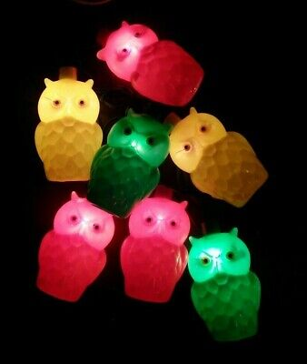 Vintage String (7) Blow Mold Plastic Owls Patio RV Camping Party Lights