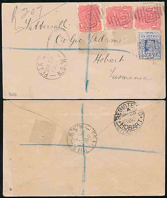 AUSTRALIA NSW REGISTERED to TASMANIA 1901 PEAK HILL POSTMARK + 1501 NUMERAL