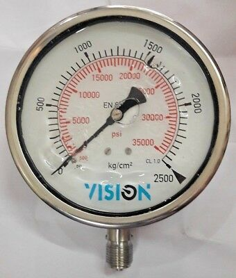 High Pressure Gauge Dual Scale 0 2500 Bar 0-35000 Psi Vision Stainless Steel