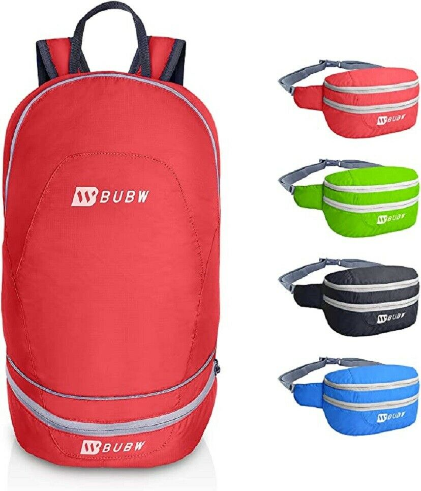 2 in 1 Packable Backpack Waist Pack Lightweight Foldable Daypack Bag for Hiking Camping & Hiking
