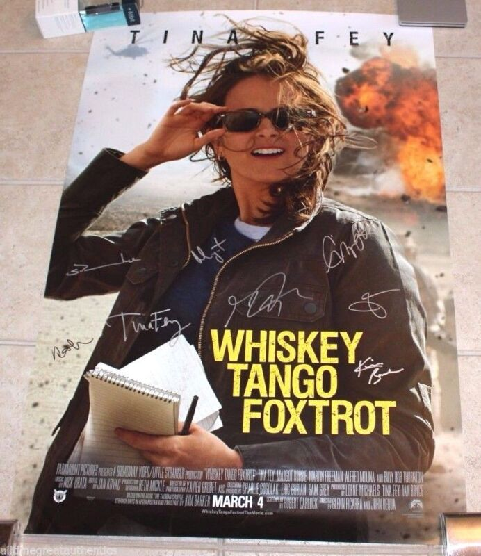 WHISKEY TANGO FOXTROT CAST SIGNED FULL SIZE MOVIE POSTER TINA FEY MARGOT ROBBIE