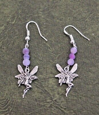 Silver Fairies w Purple Beads Hand Crafted Dangle Drop