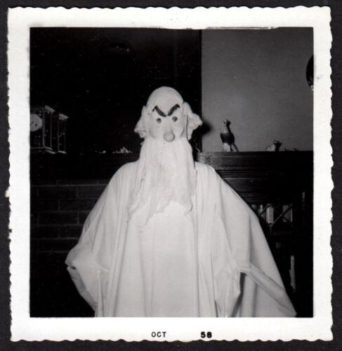 FREAK MASK OLD MAN HALLOWEEN COSTUME CREEPY NIGHTMARE ~ 1958 VINTAGE PHOTO