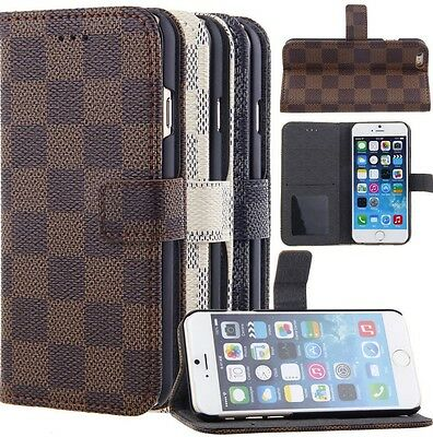 Iphone 6/6s Luxury Grid Print Wallet Card Holder Flip Standing PU Leather Case ()