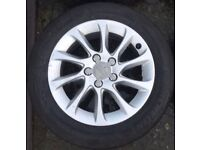 "16"" Genuine Audi A3 Alloy Wheels & Tyres 205/55R16 5x112 Fit A4 A6 VW Passat Golf Seat Leon Toledo"