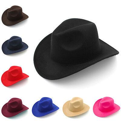 Men Women Kids Children Panama Hats Cowboy Western Caps Wide Brim Sombrero Wool](Children Cowboy Hats)
