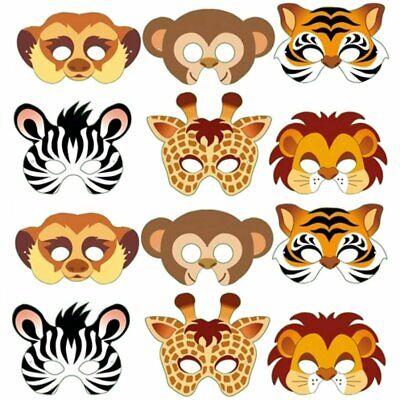 12 Card Jungle Animal Face Masks - Colourful Childrens Masks Party Bag - Jungle Animal Face Masks