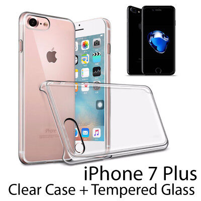 (Premium Crystal Clear Hard Case Cover & Tempered Glass for iPhone 7 Plus)