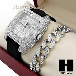 Mens Techno Pave Hip Hop Iced Out Diamond Silver Watch & Cuban Bracelet Set G190