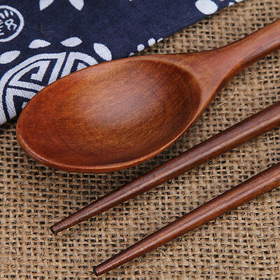 Holz Besteckset Küche  Löffel Essstäbchen Tragbar Tasche als Geschenk