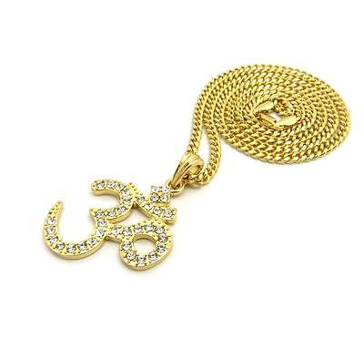 New Iced Out Hindu Aum Om Religious Pendant   24  Various Chain Hip Hop Necklace