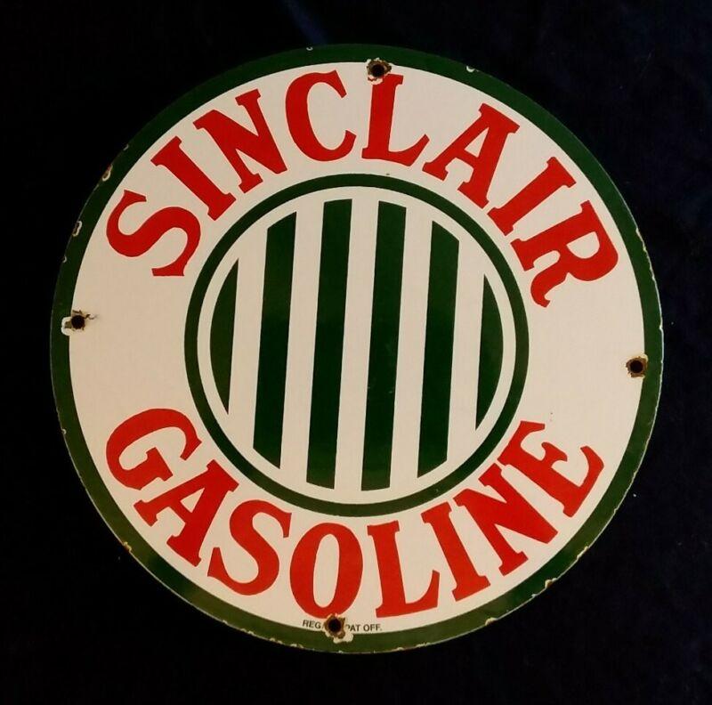 VINTAGE SINCLAIR GASOLINE / MOTOR OIL PORCELAIN GAS PUMP SIGN