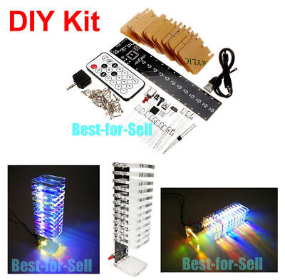 Fantasy Crystal Cube Led Diy Kit Music Spectrum Analyzer Audio Level Vu Tower 5v