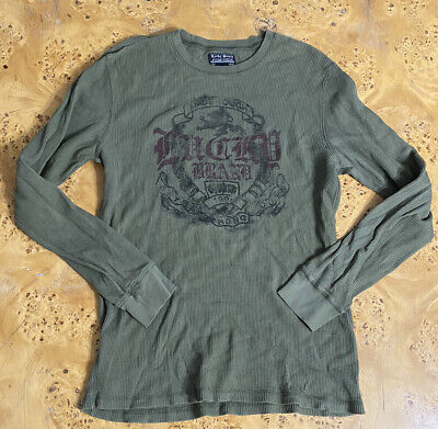 Mens Vintage Lucky Brand Long Sleeve Waffle Thermal Shirt Size Large EUC Green