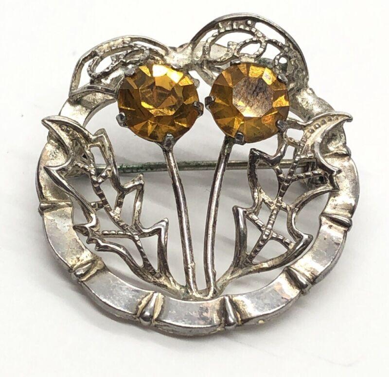 Vintage Sterling Silver Brooch Pin 925 WBS Ward Bros Scottish Thistle Rhinestone