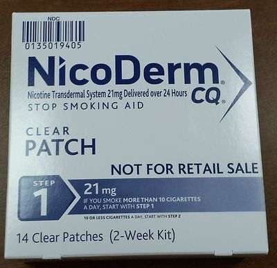Nicoderm CQ Step 1 - 14 Clear patches - NEW STOCK!  Non-Retail Box