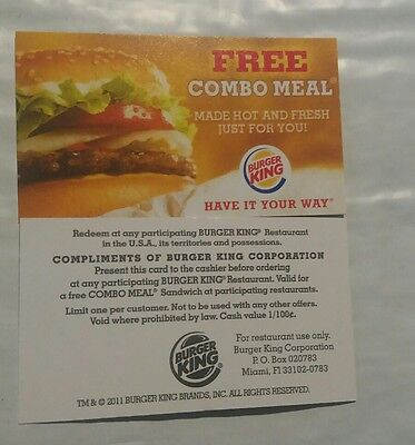 (20) Burger King Combo Meal Card No Expiration