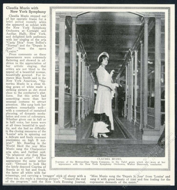 1918 Claudia Muzio photo New York Symphony orchestra vintage print article