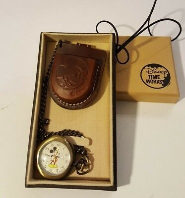 DISNEY Time Works Mickey Mouse Pocket Watch with Leather Case, RARE, New in Box