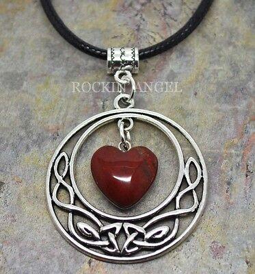 Red Jasper Heart Necklace - Antique Silver Pl Celtic Pendant & Red Jasper Heart Necklace Ladies GIft Reiki