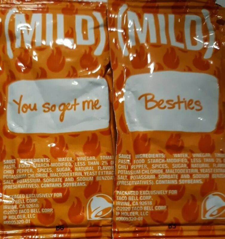 Taco Bell Sauce MILD NEW 100 Packets Assorted Saying FREE SHIPPING