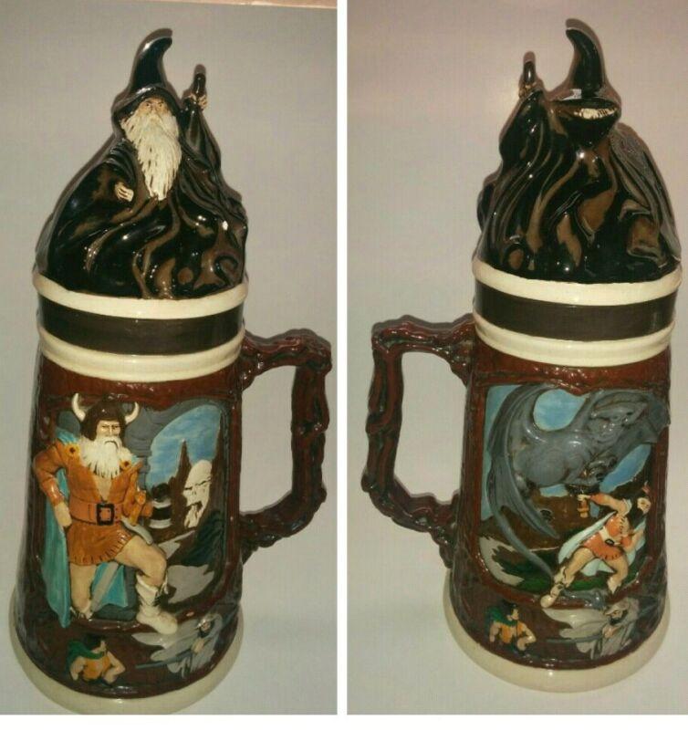 Vtg Duncan Enterprises Pottery Beer Stein Medeival Design Dragon, Viking, Wizard