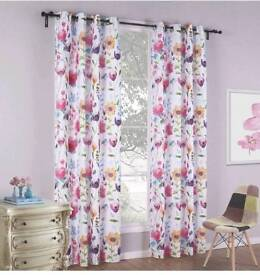 HOMTOD Floral Print Eyelet Curtains Grommet Panels,Colorful Sheer Curtains