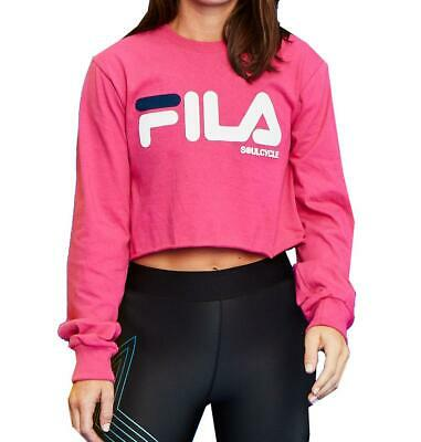FILA Womens Azalea Pink Soul Cycle Crop Top Long Sleeve Shirt New XS, S, M, L
