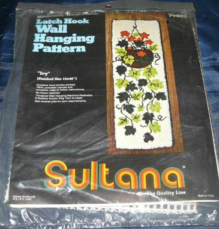 "Vintage Sultana IVY Latch Hook Kit Rug Wall Hanging 15"" x 48"" Canvas #79885 NIP"