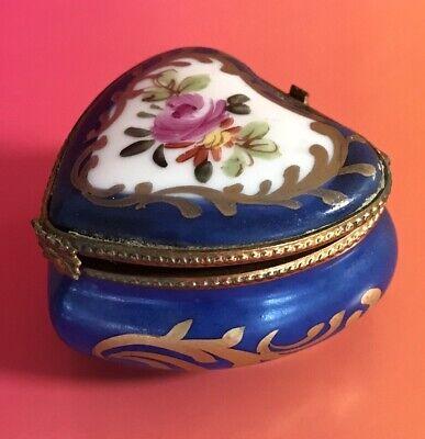 Limoges France Porcelain Cobalt Blue Heart Shaped Keepsake Box Trinket