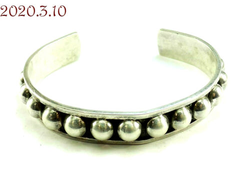 """Estate Raised Dots Sterling Silver 925 Cuff Bracelet Mexico 5-7/8"""" end to end"""